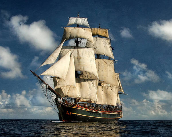 Hms Bounty Poster featuring the digital art Bounty Making Way by Peter Chilelli