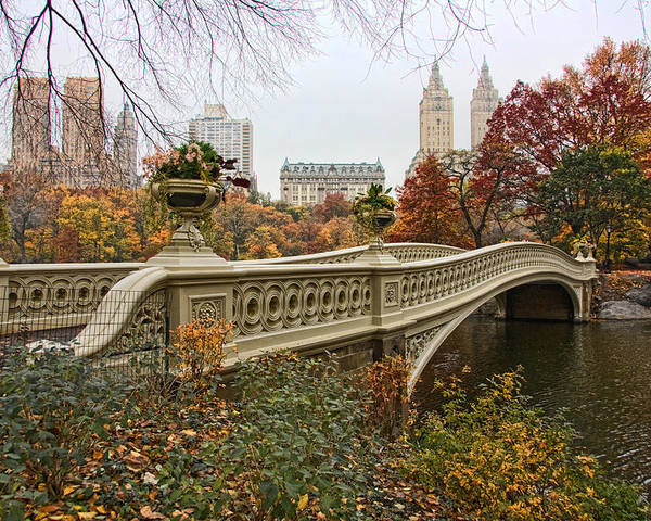 Central Poster featuring the photograph Bow Bridge In Central Park by June Marie Sobrito