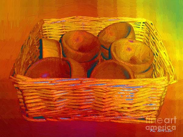 Basket Poster featuring the painting Bowls In Basket Moderne by RC deWinter