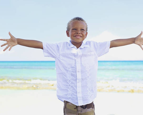 Beach Poster featuring the photograph Boy On Beach by Kicka Witte