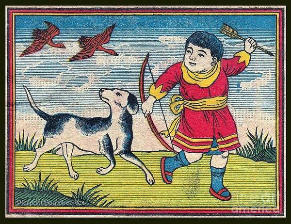 Blue Sky Clouds Boy Man Dog Spotted Best Friend Bow Arrow Ducks Geese Flying Hunting Hunt Hunter Red Robe Dress Oriental Asia China Japan Nipon Korea Landscape Novelty Poster featuring the painting Boy With Dog Ducks Hunting. Bow And Arrow. Landscape. Matches. Match Book Antique Matchbox Cover. by Pierpont Bay Archives