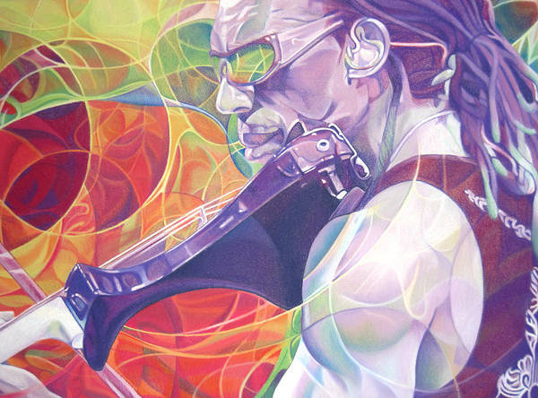 Boyd Tinsley Poster featuring the drawing Boyd Tinsley And Circles by Joshua Morton