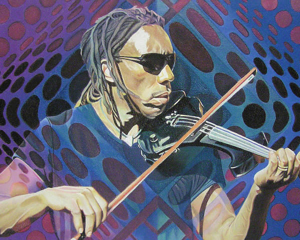 Boyd Tinsley Poster featuring the drawing Boyd Tinsley Pop-op Series by Joshua Morton