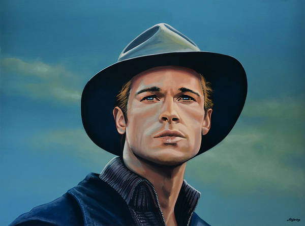 Brad Pitt Poster featuring the painting Brad Pitt Painting by Paul Meijering