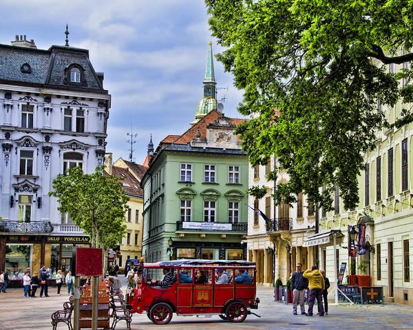 Bratislava Slovakia Poster featuring the photograph Bratislava Town Square by Jon Berghoff