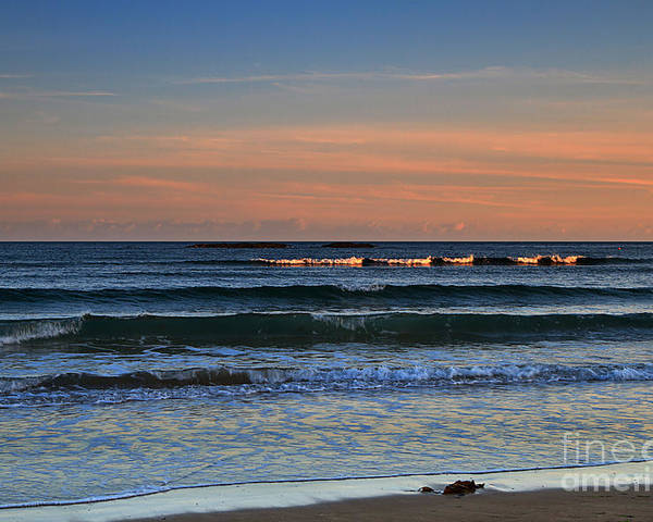 Sunset Poster featuring the photograph Breakers At Sunset by Louise Heusinkveld