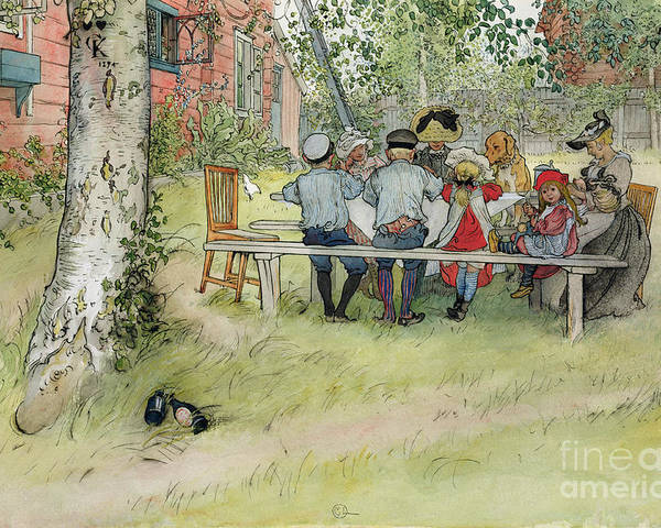 Picnic Table; Al Fresco; En Plein Air; Outdoors; Meal; Eating; Garden; Family; Children; Bench; Bonnet; Dog; Male; Female Poster featuring the painting Breakfast Under The Big Birch by Carl Larsson