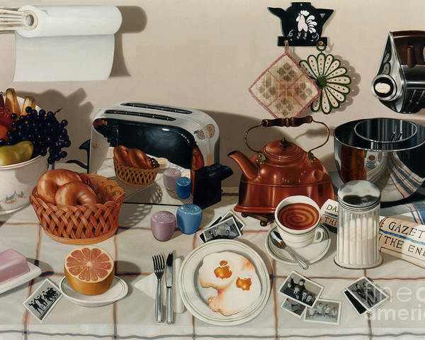 Still Life Poster featuring the painting Breakfast With The Beatles - Skewed Perspective Series by Larry Preston