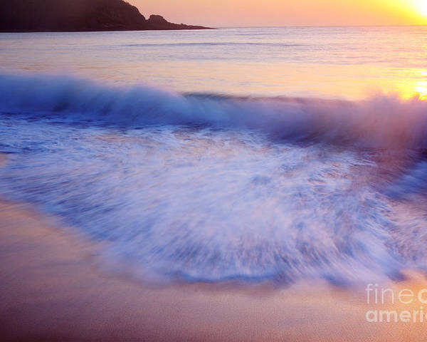 Breaking Poster featuring the photograph Breaking Wave At Sunrise by Colin Woods