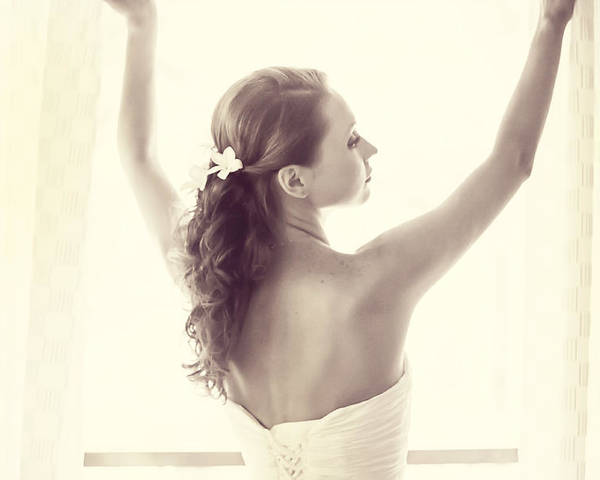Marriage Poster featuring the photograph Bride At The Window by Jenny Rainbow