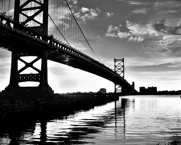 Black & White Poster featuring the photograph Bridge At Dawn by Joseph Perno
