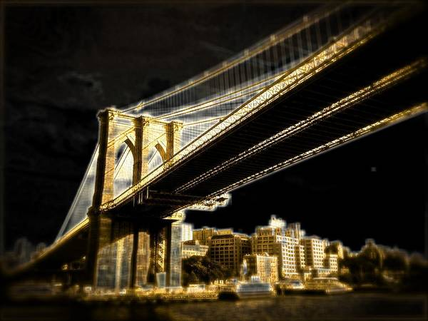 Poster featuring the photograph Bridge At Night by Gilda Parente
