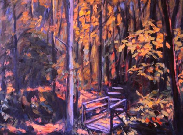 Woods Poster featuring the painting Bridge In Woods Near Pandapas by Kendall Kessler
