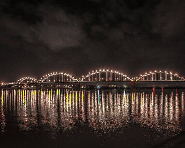 Mississippi Poster featuring the photograph Bridge Lights by Ray Congrove