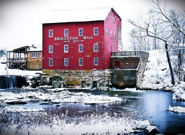 Landscape Poster featuring the photograph Bridgeton Mill In Winter by Virginia Folkman