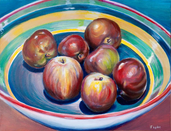 Apples Poster featuring the painting Red Apples In Striped Bowl by Jennifer Lycke
