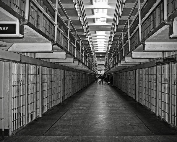 Cell Poster featuring the photograph Broadway Walkway In Alcatraz Prison by RicardMN Photography