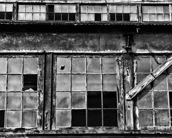 Paul Ward Poster featuring the photograph Broken Windows In Black And White by Paul Ward