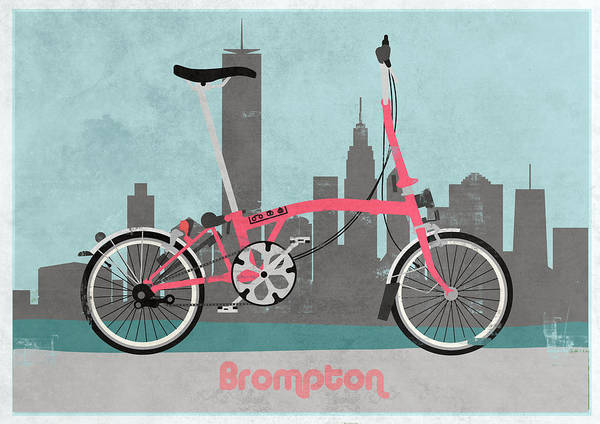 Bike Poster featuring the digital art Brompton City Bike by Andy Scullion
