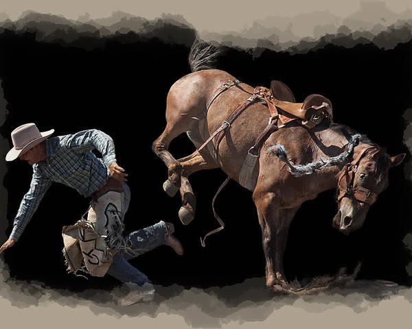 Rodeo Poster featuring the digital art Bronco Busted by Daniel Hagerman