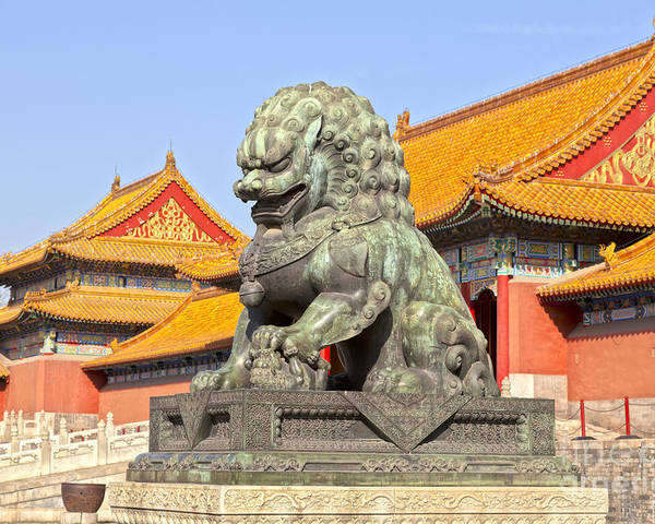 Architecture Poster featuring the photograph Bronze Lioness Forbidden City Beijing by Colin and Linda McKie