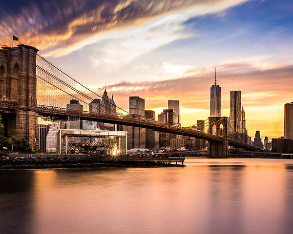 America Poster featuring the photograph Brooklyn Bridge at sunset by Mihai Andritoiu