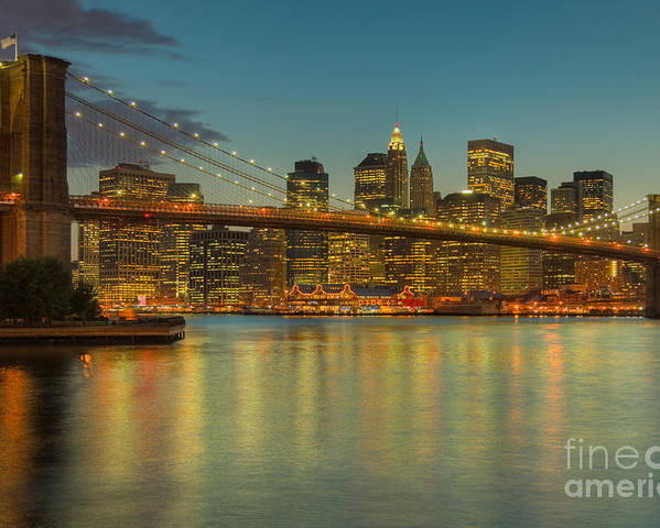Clarence Holmes Poster featuring the photograph Brooklyn Bridge Twilight by Clarence Holmes