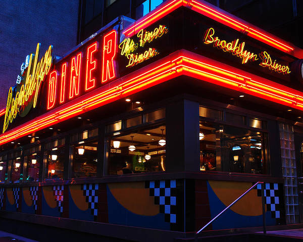 Brooklyn Poster featuring the photograph Brooklyn Diner Usa by James Kirkikis