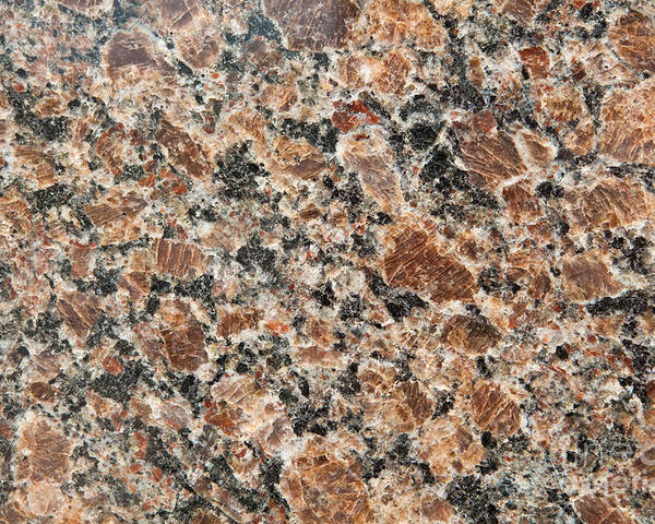 Grained Poster featuring the photograph Brown Red Granite by Jim Pruitt