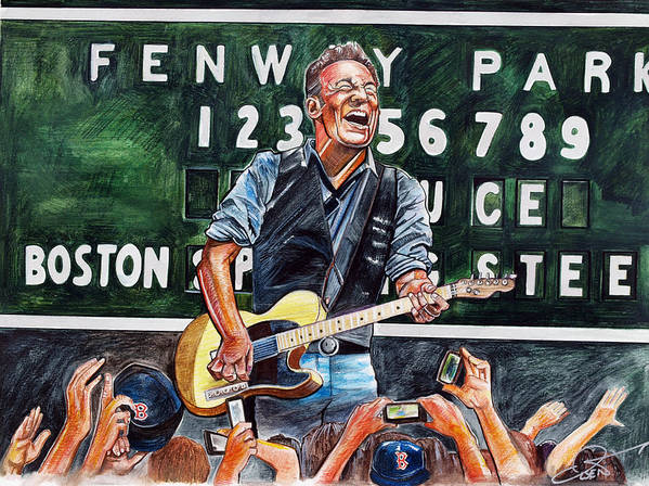 Bruce Springsteen Poster featuring the drawing Bruce Springsteen At Fenway Park by Dave Olsen