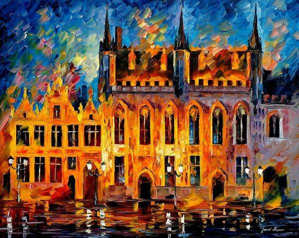 Afremov Poster featuring the painting Bruges by Leonid Afremov