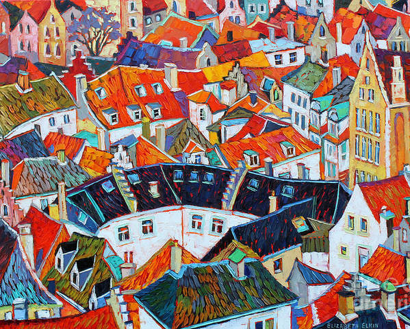 Cityscape Poster featuring the painting Bruges Rooftops by Elizabeth Elkin