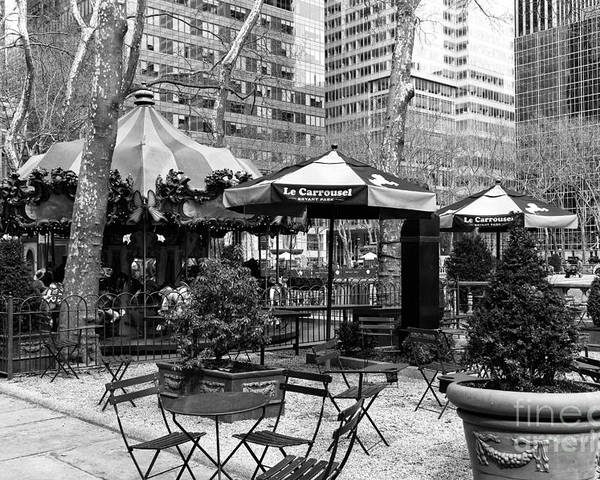 Bryant Park Table Poster featuring the photograph Bryant Park Tables Mono by John Rizzuto
