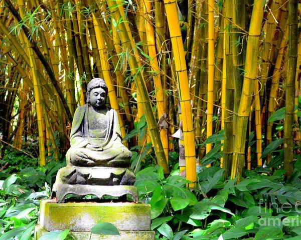 Buddha Poster featuring the photograph Buddha In The Bamboo Forest by Mary Deal