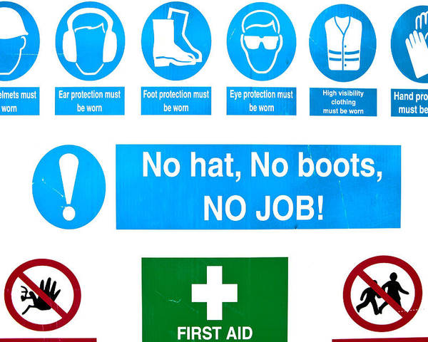 Aid Poster featuring the photograph Building Site Safety by Tom Gowanlock