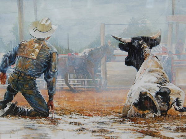 Cowboy Poster featuring the painting Bull Dogged Baffled by Bob Graham