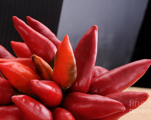 Background Poster featuring the photograph Bunch Of Red Chili On Black by Bruno D'Andrea