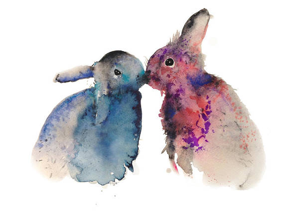 Bunnies Poster featuring the painting Bunnies In Love by Krista Bros
