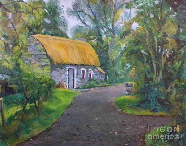 Scenic Poster featuring the painting Bunratty Cottage by Stephanie Allison