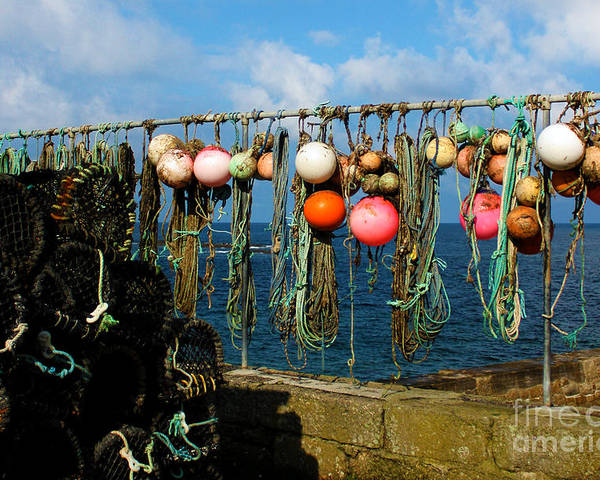 Sennen Cove Poster featuring the photograph Buoys And Pots In Sennen Cove by Terri Waters