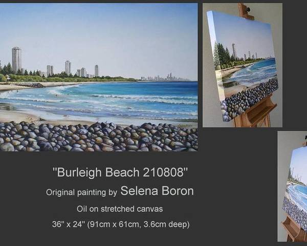 Seascape Poster featuring the painting Burleigh Beach 210808 by Selena Boron