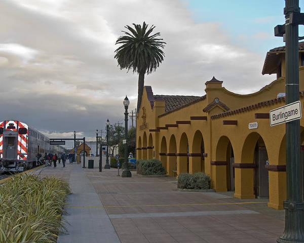 Railroad Poster featuring the photograph Burlingame Train Station by Scott Lenhart