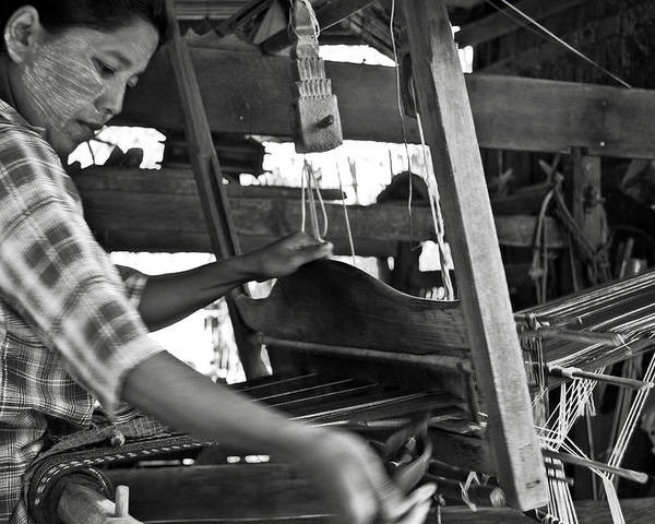 Woman Poster featuring the photograph Burmese Woman Working With A Handloom Weaving. by RicardMN Photography