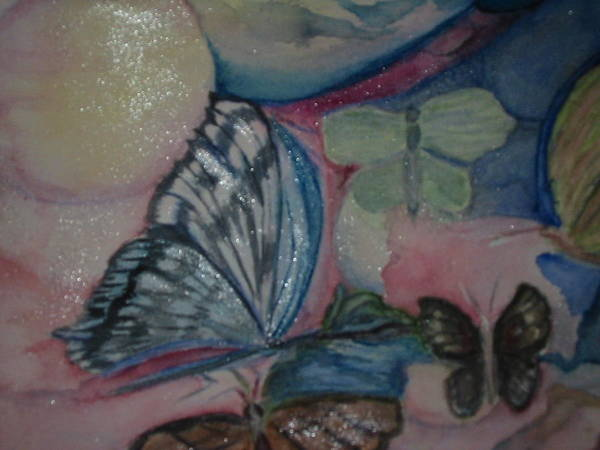 Watercolor Butterflies Poster featuring the painting Butterflies And Spheres by Marian Hebert