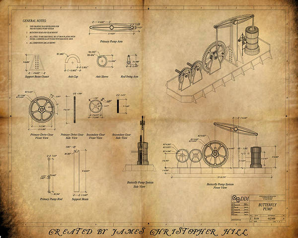 Steampunk; Gears; Housing; Cogs; Machinery; Lathe; Columns; Brass; Copper; Gold; Ratio; Rotation; Elegant; Forge; Industry; Jules Verne Poster featuring the painting Butterfly Pump by James Christopher Hill