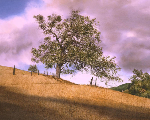 Landscape Poster featuring the painting By The Big Oak by Tom Wooldridge