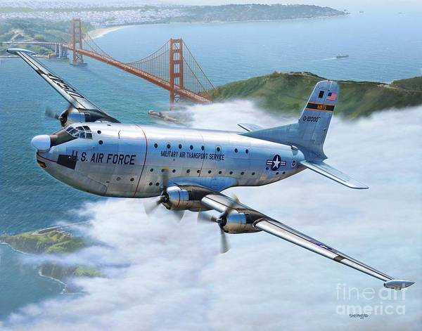 C-124 Poster featuring the digital art C-124 Shakey Over The Golden Gate by Stu Shepherd
