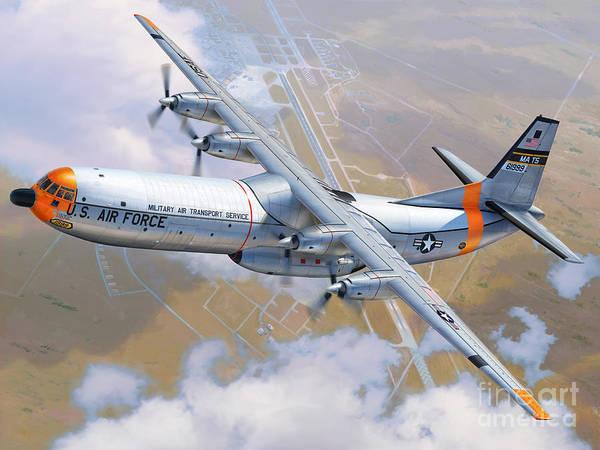 C-133 Poster featuring the digital art C-133 Cargomaster Over Travis by Stu Shepherd