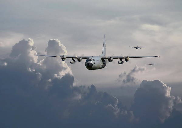 Aircraft Poster featuring the digital art C130 Hecules  In Trail by Pat Speirs
