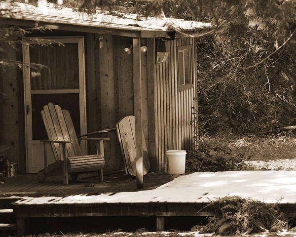 Sepia Poster featuring the digital art Cabin Porch by Kirt Tisdale